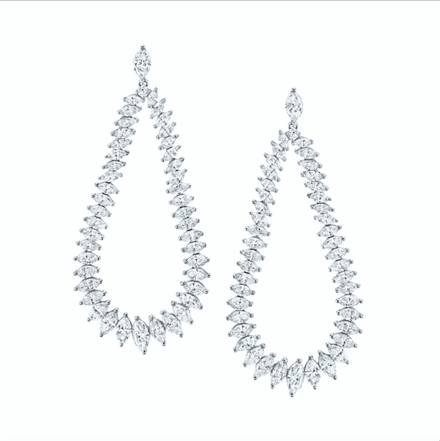 LARGE MARQUIS DIAMOND SWING EARRINGS