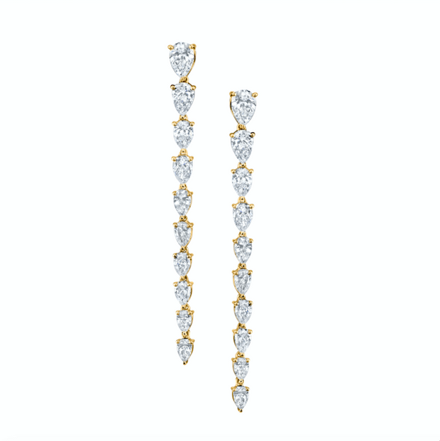 Large pear diamond drop earrings