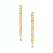 Plain chain link earrings with pear diamond drops