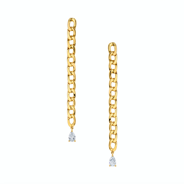 CHAIN LINK EARRINGS WITH PEAR DIAMOND DROPS