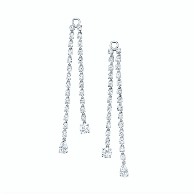 Double draped rope earrings with round & pear diamond drops