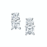LARGE ROUND AND STEP CUT ASSCHER TWO DOT DIAMOND EARRINGS