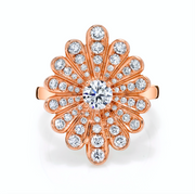 Diamond water lily ring