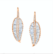 LARGE PALM LEAF DROP EARRINGS WITH PAVE DIAMOND STEM