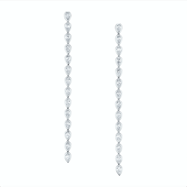 LONG PEAR DIAMOND BEZEL DROP EARRINGS