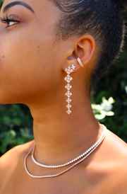 Small pave flower drop earrings
