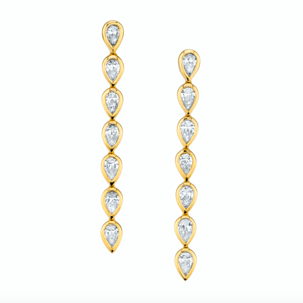 SHORT PEAR DIAMOND BEZEL DROP EARRINGS