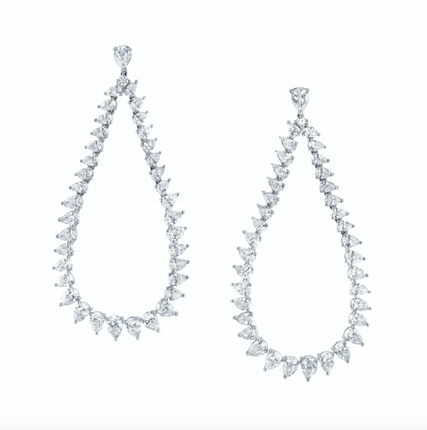 Large Pear diamond swing earrings