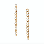 LONG DIAMOND CHAIN LINK EARRINGS