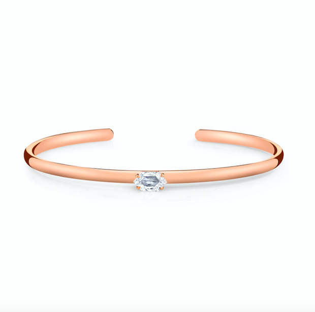 ROSE GOLD STEP CUT HEXAGON DIAMOND CUFF