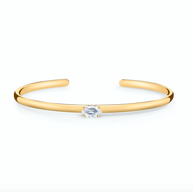 Yellow gold step-cut hexagon diamond cuff