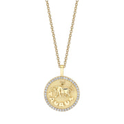 TAURUS ZODIAC COIN PENDANT WITH DIAMOND FRAME