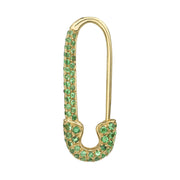 Tsavorite safety pin earring