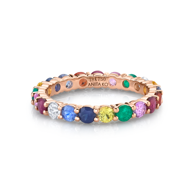 MULTI-COLORED FINE GEMSTONE AND DIAMOND ETERNITY BAND
