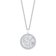 Virgo zodiac coin pendant with diamond frame