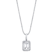 BEZEL EMERALD CUT DIAMOND PENDANT WITH PAVE FRAME