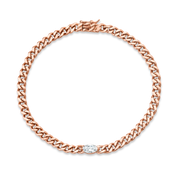 SMALL CUBAN LINK BRACELET WITH MARQUIS DIAMOND CENTER