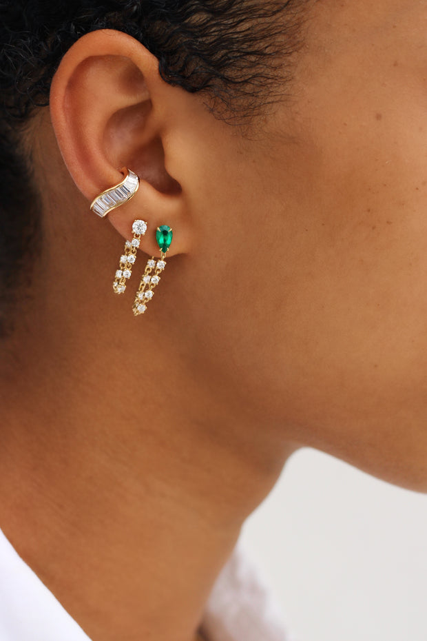 PEAR EMERALD LOOP EARRING