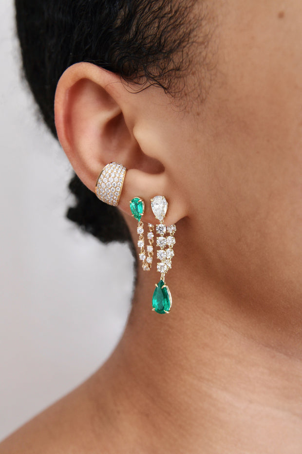 LARGE EMERALD AND DIAMOND OLIVIA EARRING