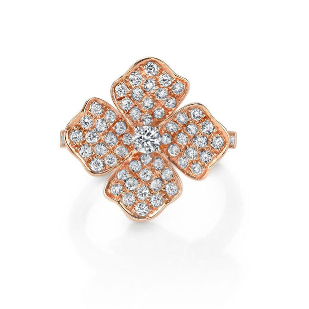 DIAMOND FLOWER PINKY RING