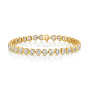 BEZELED HEART DIAMOND TENNIS BRACELET