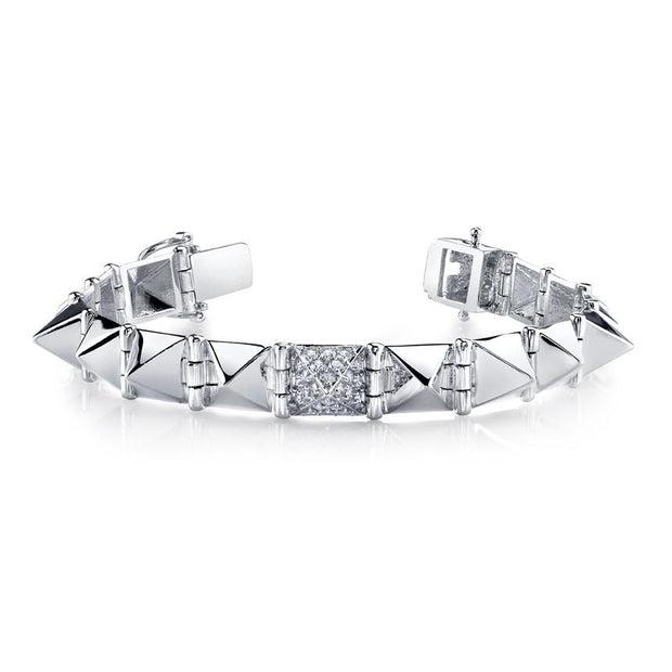 LARGE SPIKE BRACELET WITH ONE DIAMOND SPIKE