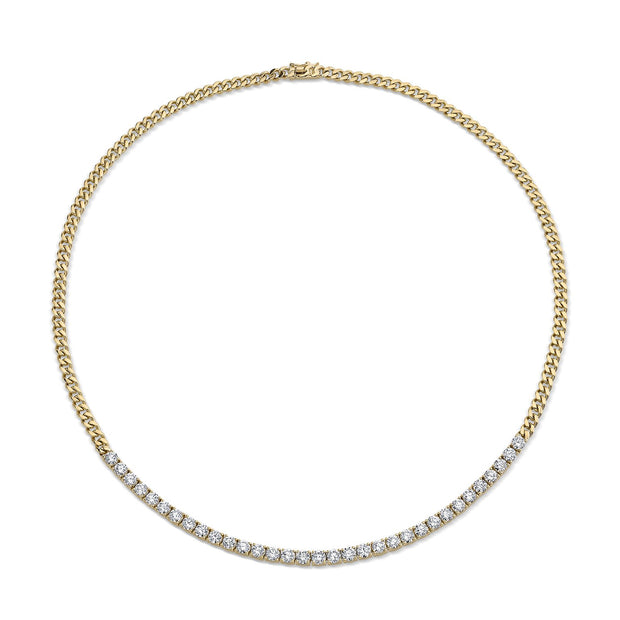 Plain cuban link and long diamond line necklace