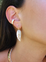 LARGE PALM LEAF DROP EARRINGS