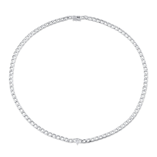 Plain chain necklace with pear diamond center