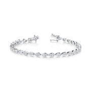 Pear diamond bezel tennis link bracelet