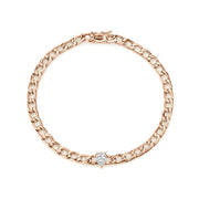 Plain chain bracelet with pear diamond center