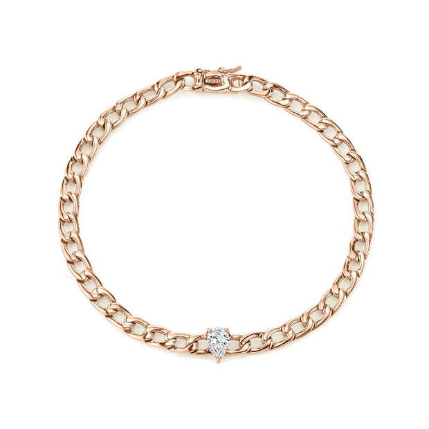 CHAIN BRACELET WITH PEAR DIAMOND CENTER