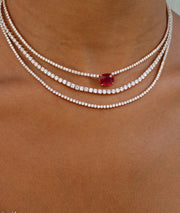 RUBY CUSHION DIAMOND HEPBURN NECKLACE