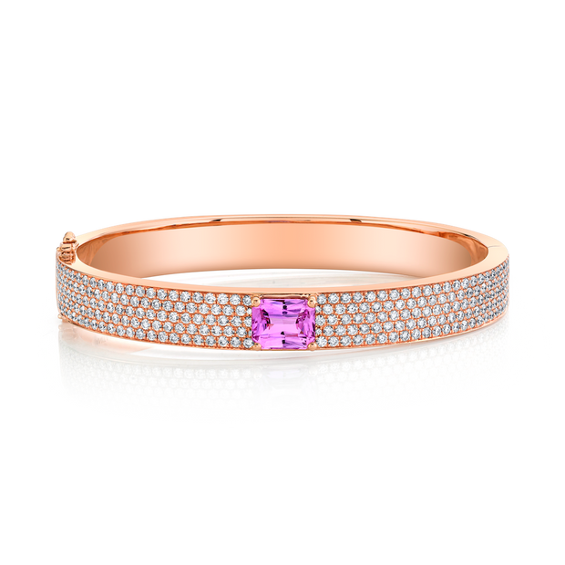 PAVE DIAMOND OVAL BRACELET WITH EMERALD CUT PINK SAPPHIRE CENTER