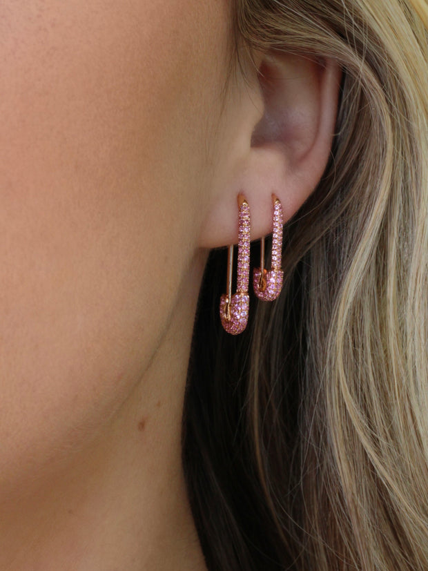 MINI PINK SAPPHIRE SAFETY PIN EARRING