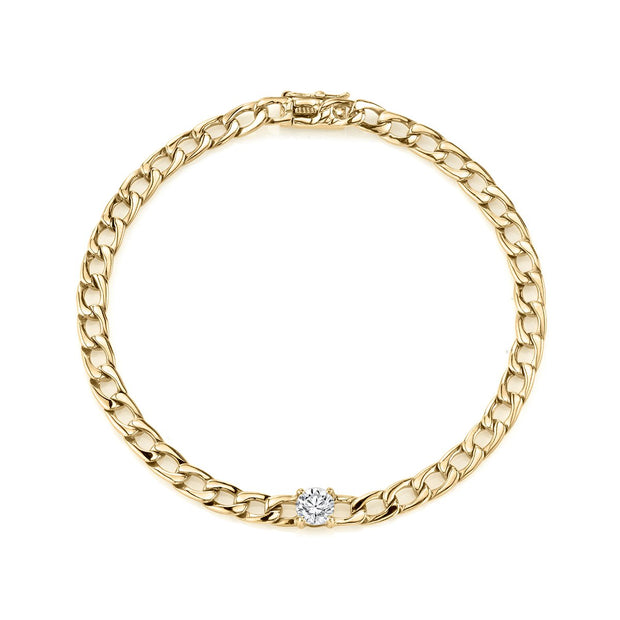 Plain chain bracelet with round diamond center