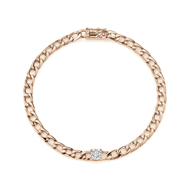 CHAIN BRACELET WITH ROUND DIAMOND CENTER