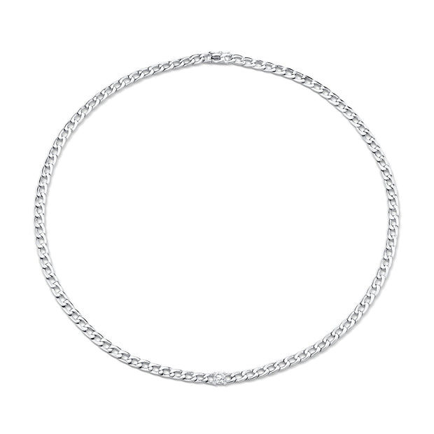 CHAIN NECKLACE WITH ROUND DIAMOND CENTER