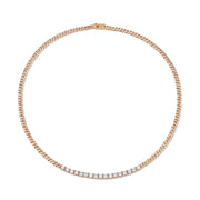 CUBAN LINK PLAIN AND SHORT LINE DIAMOND NECKLACE