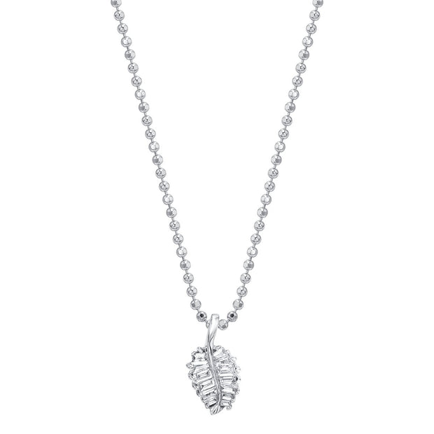 SMALL PALM LEAF DIAMOND NECKLACE