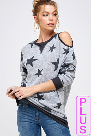 Star Print Cold Shoulder Top by Faith Apparel
