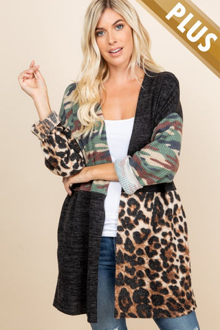 PLUS SIZE PARTIALLY CAMO AND ANIMAL PRINTED SIDE POCKETED CARDIGAN
