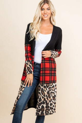 PLUS SIZE ANIMAL PLAID COMBO LONG SLEEVE CARDIGAN by a.again