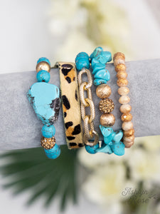 Rock and Prowl Bracelet Set-Turquoise by Ashlyn Rose
