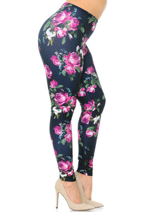 Wholesale Creamy Soft Fuchsia Rose Plus Size Leggings - USA Fashion