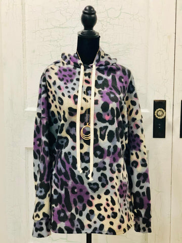 Honeyme Leopard Print Hoodie with Purple, Pink and Blue Splashes of Color-Plus size XL-3XL