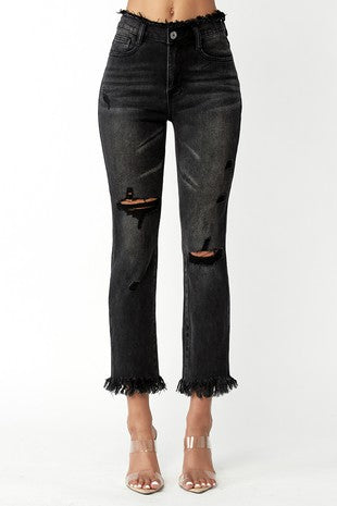 FRAYED WAIST & HEM DISTRESSED STRAIGHT LEG JEANS