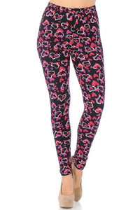 Buttery Soft Plus Size Double Heart Leggings