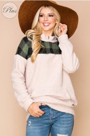 Teddy Soft Solid Color Pullover with Plaid Print-Plus Size
