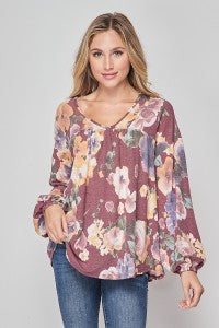 Honey Me Burgundy Purple Floral Top